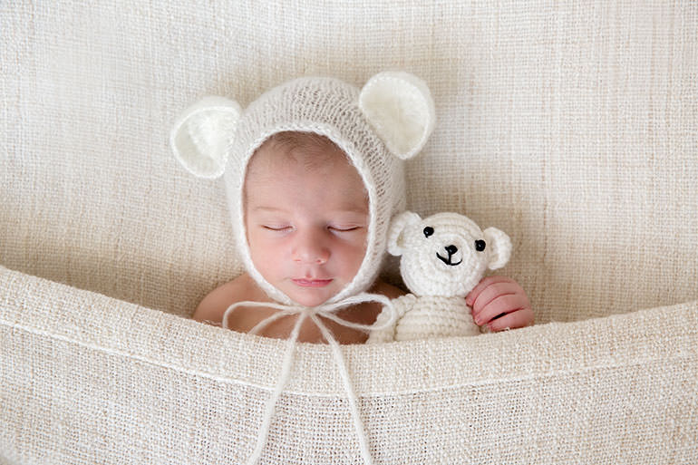 Newborn baby in bear bonnet - Melbourne Newborn photos by Vanilla Images